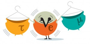 타우, 전자, 뮤온 중성미자(왼쪽부터) - 노벨위원회 제공